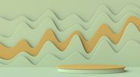 Abstract mock up podium with wavy background 3D