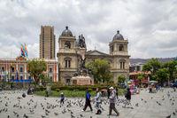Plaza Murillo and Cathedral in La Paz, Bolivia