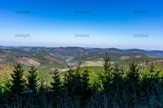 View on the Sauerland in Germany going on the Rothaarsteig hiking route