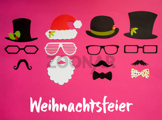Santa Claus, Set Of Mask, Pink Background, Weihnachtsfeier Means Christmas Party
