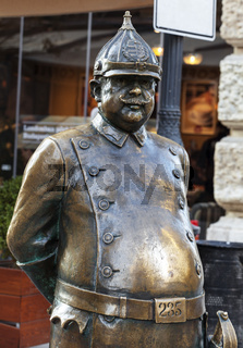 Budapest, HUNGARY - FEBRUARY 15, 2015 - The Policeman statue
