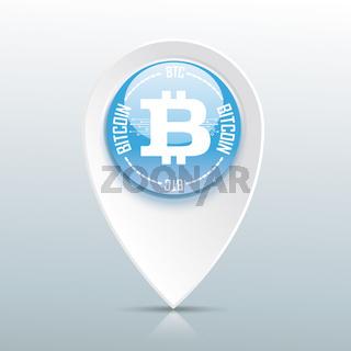 Bitcoin Pointer Blue Button