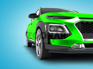 Modern green car crossover for travel with black insets in front 3d render on blue background with shadows