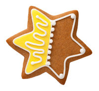 Gingerbread Star Isolated On White Background