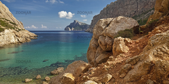 coast and bay Cala Boquer, Port De Pollenca, Majorca, Balearic Islands, Spain, Europe