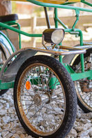 Bicycle with four wheels homemade - close-up DIY upcycling