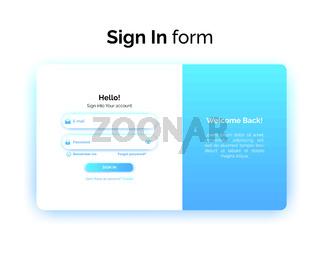 Sign In form, web design UI UX, login interface with gradient, vector illustration.