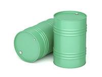 Steel barrels on white background