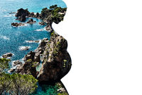 Double multiple exposure. Silhouette of pregnant woman combined with a rocky coast and turquoise sea waters