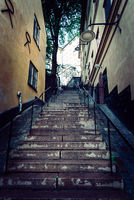 Picturesque steps with colorful houses in Sodermalm in Stockholm