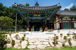 Peace bell in the high security border at Korean Demilitarized Zone at the JSA visitor center, Panmunjom South Korea