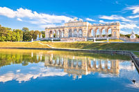 Gloriette viewpoint and Schlossberg fountain lake in Vienna view