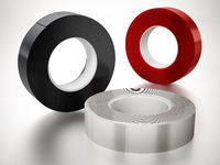 Black, white and red electrical tapes isolated on white background. 3D illustration