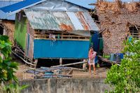 Panay, Philippines - Jan 23, 2020: The slums are made of bamboo. Impoverished areas of the Philippines.
