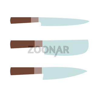 Set of kitchen knives. Big and small blades. Wooden handle. Vector illustration