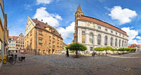 Ansbach. Old town of Ansbach historic street and church panoramic view