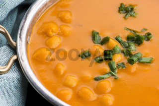 Vegetarian food is without meat: soup with chickpeas