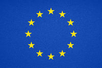 flag of Europe or European Union or EU with leather texture