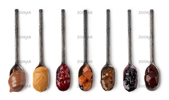 set of spoon with jam