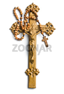 cross with Jesus and rosary