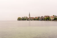 The village of Berlingen on a foggy morning, Lake Constance, Canton Thurgau, Switzerland