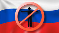 Warning sign with crossed out man on a background Russian flag.
