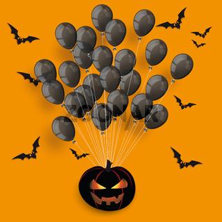Black Balloons Bunch Halloween Pumpkin