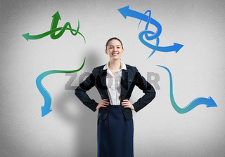 Businesswoman thinking something over