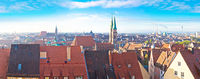 Nurnberg. Rooftops and cityscape of Nuremberg old town panoramic view