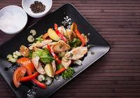 Ingredients for dinner cooking - vegetables and turkey steaks, top view. Diet and healthy eating concept. Cooking