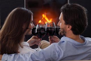 Couple drinking wine Valentines day