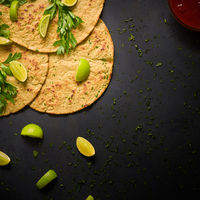 Mexican corn tortilla with hot sauce