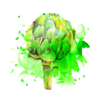 A watercolor drawing of a vibrant artichoke with splashes of paint