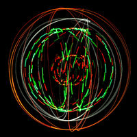 Abstract round structure of colored light painting against a black background