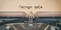 Text written with a vintage typewriter -  Garage sale