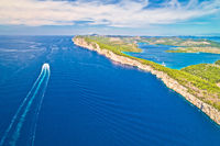 Telascica nature park cliffs and Dugi Otok island aerial view