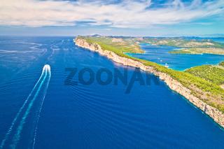 Telascica nature park cliffs and Dugi Otok island aerial view