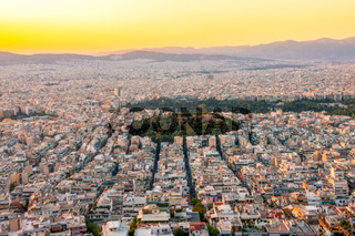 Sunset Over the Rooftops of Athens and the Golden Sky