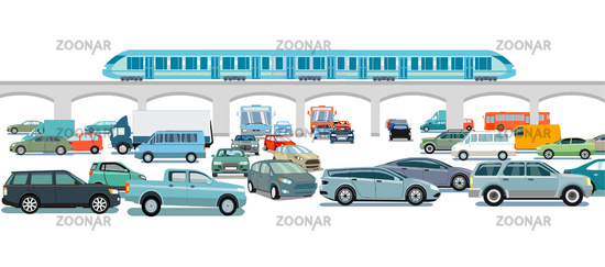 Express train and cars on the intersection