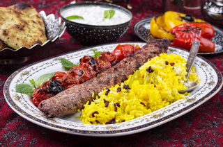 kabab koobideh with zereshk polo