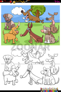 doga and puppies characters group color book page