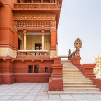 Staircase leading to balcony at Baron Empain Palace, Heliopolis district, Cairo, Egypt