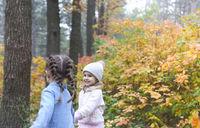 Cute little girls in autumn park