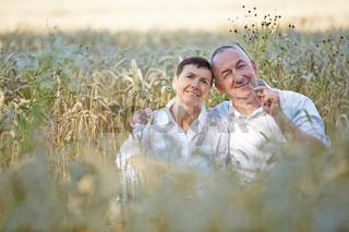 Paar Senioren sitzt in einem Feld