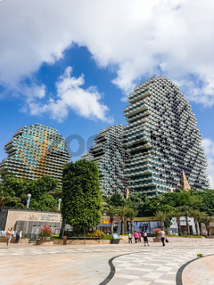 Cityscape view of 7-star Sanya Beauty Crown Hotel on Hainan, China