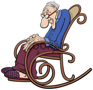 cartoon senior in the rocking chair comic character