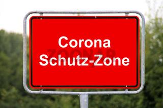 Eine Corona Schutz-Zone