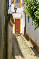 Alley with old houses in colonial architecture in Tiradentes