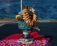 Traditional Russian samovar with bagels