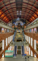 Antwerp, Belgium - March 2019: Antwerp, Belgium - March 2019: Central hall with platforms on different levels for passengers Inside the beautiful, historic and monumental Antwerp Train Station.